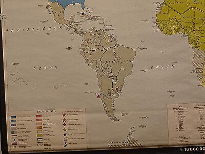 Schulwandkarte schöne alte Weltkarte Bündnisse 198x125 vintage world map 1969 5