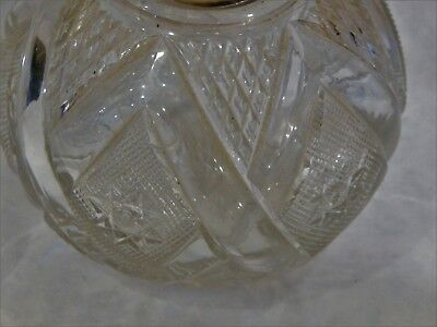 Antique English Crystal Sterling Silver Decanter or Scent Bottle London 1893 4