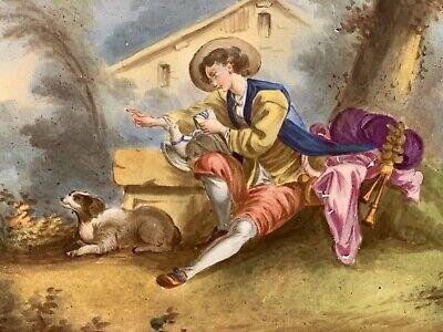 Antique French Porcelain Portrait Ormolu Cavalier King Charles Spaniel Dog Plate 3