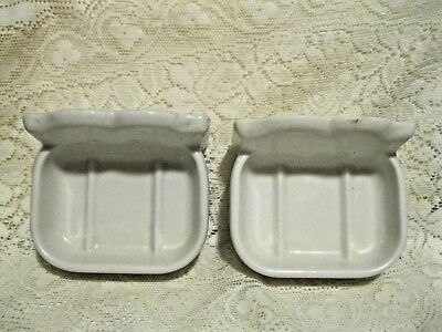 Vintage White Porcelain Bathroom Wall Mount Matching Soap Dishes 2