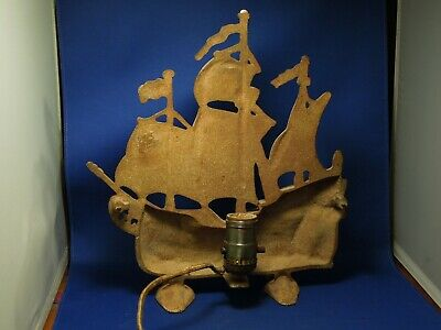 Vintage Cast Iron European Old World Galleon Ship Table Tv Lamp W/ Original Cord 6