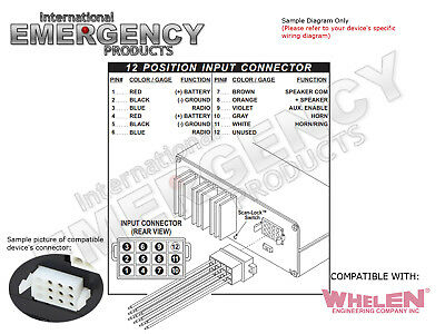 12 pin plug harness cable for whelen siren 295sl 295sl100