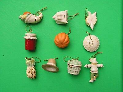 LENOX AUTUMN FAVORITES 10 miniature Tree Ornaments set NEW in BOX Thanksgiving 2