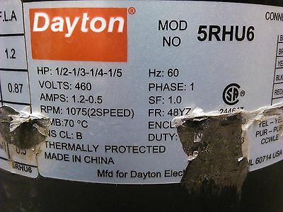 DAYTON 5RHU6 Condenser Fan Motor 1/2-1/3-1/4-1/5 HP 1075 RPM 2 Speed 1PH 60Hz 4