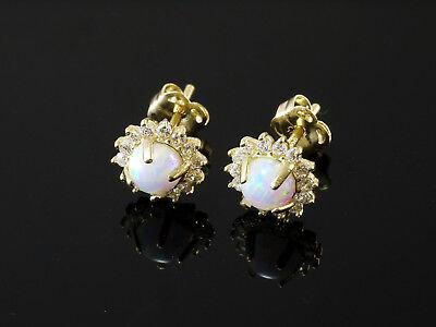 585 Gold Ohrstecker mit Opalen Grösse 7 mm Größe der Opale 4mm 1 Paar
