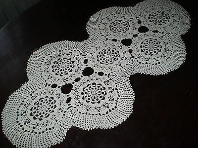 12x26'' Vintage  lovely  Hand-Knitted Cotton Crocheted Tablecloth