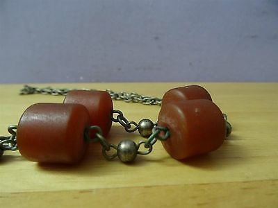 Antique Silver ? Coins Folklore  Necklace 19th C. Ottoman & old amber Bedouin 6