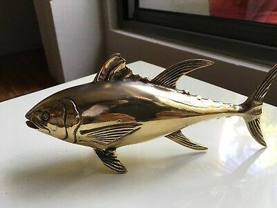 "standing TUNA FISH solid BRASS (hollow) statue 23 cm display trophy heavy 9"" B 2"