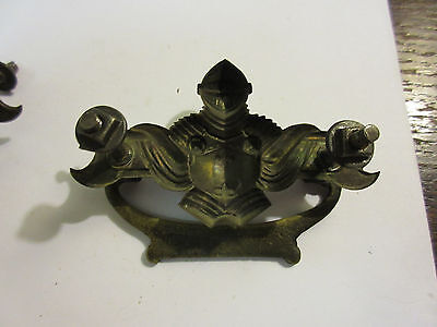 2 Antique Victorian Brass Hardware Drawer pulls Handles suit of armor knight B 4