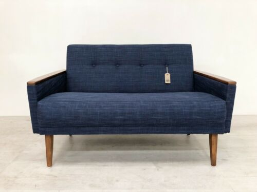 Danish Vintage Inspired Mid Century 50S 2 Seater Cocktail Sofa Settee In Navy 3