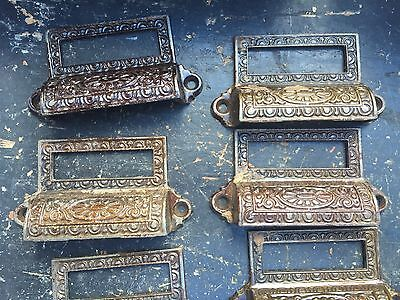 c1890 SET of 10 matching authentic VICTORIAN cabinet pull hardware 3 5/8 on hole 5