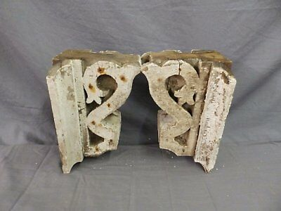 Antique Pair Corbels Wood Small Victorian Architectural Shabby Vtg Chic 517-17P 10