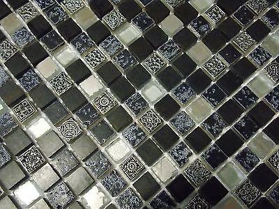 Glasmosaik Mosaik Fliesen Ornament Schwarz Silber Spiegel Antik