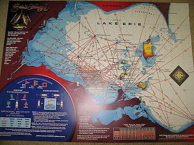 LAKE ERIE FISHING Map Walleye Bass Perch Ohio GPS New OHIO Fishing - Lake erie fishing hot spots map