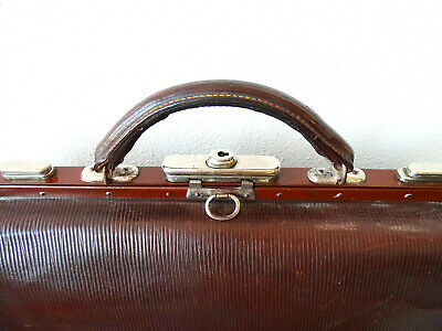 Antike Leder Arzttasche Doktortasche Tasche Sacvoyage Hebammentasche um 1900 3