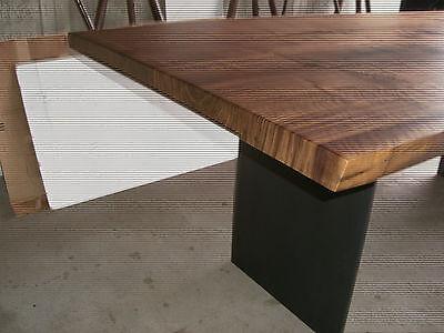 Nußbaum Esstisch Baumkante Stahlwangen, Platte 40mm voll massiv 200 x ...