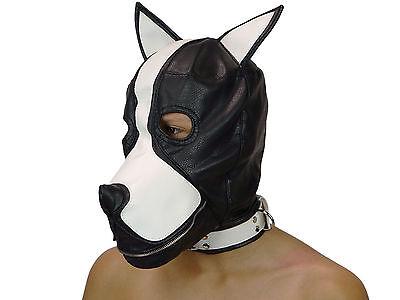 Petplay Hundemaske mit Knebel schwarz weiß Hunde Maske Hund Ledermaske ArNr.2777 2