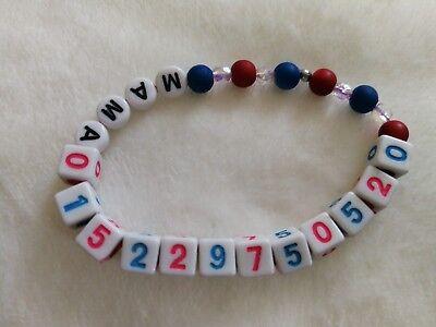 Name und//oder Telefonnummer Armband SOS Notfallarmband für Kinder