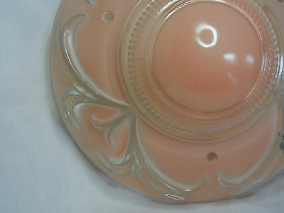 "11-1/4"" VINTAGE 3-CHAIN CHANDELIER SHADE PINKISH PEACH w/ CLEAR RAISED DECOR 6"