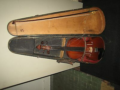 Beautiful Vintage Violin & Bow German Brazilian Wood French Commercial 4