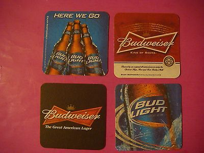 2 Of 4 4 Beer Bar COASTERS: Anheuser Busch Brewing Company Budweiser Bud  Light Lager