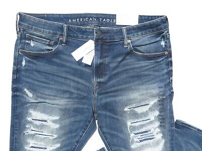 NWT $60 American Eagle Next Level Skinny Jeans 38 40 x 30 Distressed Denim