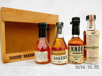 Jim Beam Small Batch Miniature Set In Timber Cabinet -Features Round Knob Creek! 2