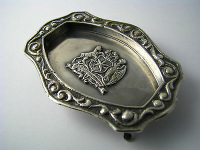 CHILEAN SOLID SILVER TRAY FOOTED ASHTRAY DISH 900 Silver Chile c1940s Excel Cond 3