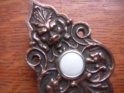 "New Victorian ""Lion & Hound"" Cast Brass Doorbell Push Button 3"