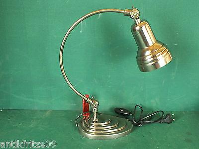 Tischlampe Schreibtischlampe Gelenkarm Lampe im Bauhaus Stil Art Deko Versilbert