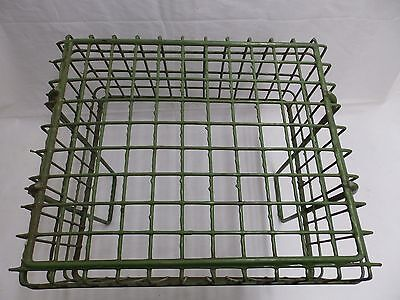 Vintage Small Kelly Green Coated Wire Basket With Handles Old Steampunk 3987-14 4