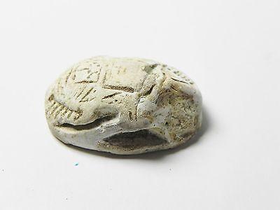 Zurqieh -Af303- Ancient Egypt , New Kingdom Stone Scarab. 1400 B.c 2