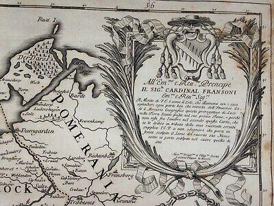 Germany Mecklenburg Dated 1692 Giacomo De Rossi Large Antique Engraved Map 2