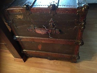 Antique Vintage Ships Trunk 19th Century, Collectable S S Friesland Ship 4