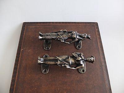 Vintage Antique Style Solid Brass Pair Of Door Handles Pulls 3