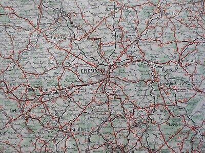 Landkarte Dunlop Strassenkarte 55 Chemnitz, Altenburg, Freiberg, um 1928