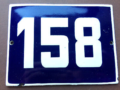 ANTIQUE VINTAGE EUROPEAN ENAMEL SIGN HOUSE NUMBER 158 DOOR GATE SIGN BLUE 1950's 4
