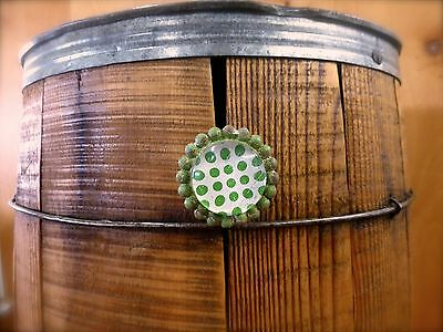 8 GREEN SUN FLOWER GLASS DRAWER CABINET PULLS KNOBS VINTAGE chic garden hardware 7