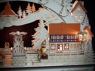 3D LED Lichterbogen Schwibbogen Weihnachtsmarkt mit Weihnachtsmann 45 cm 10255