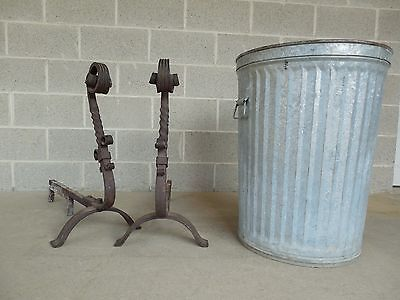 "Antique Pair Large Hand Forged Andirons 28""H x 30""D 7"