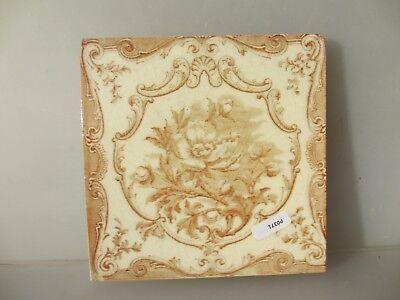 Antique Ceramic Tile Vintage Floral Flower Gilt Leaf Art Nouveau Flowers Old 2