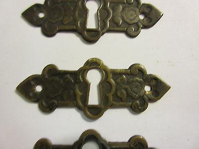 3 Antique Victorian Brass Hardware Drawer pulls Handles key escutcheon A 3