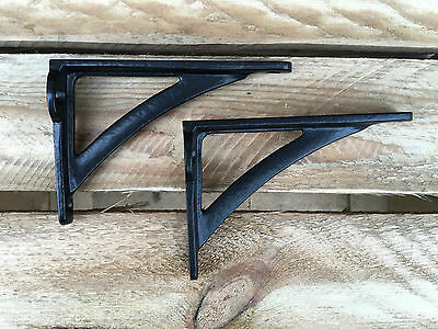 "Pair Black 4.5"" ANTIQUE HEAVY CAST IRON VICTORIAN SHELF WALL BRACKETS - BR23bx2 2"