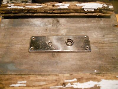 Vtg Nice Shabby Chromed Metal Antique Door Knob Back Plate Aged Patina Craft Use