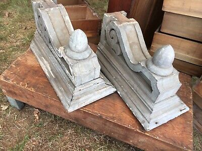 Pair c1885 large Victorian corbels brackets w finials old grey 23.5 x 10.75 x 10