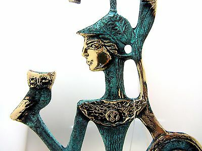 Ancient Greek Bronze Museum Statue Replica Athena Wth Shield & Owl Collectable 5