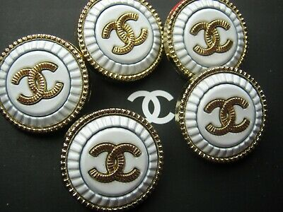 CHANEL  5 AUTHENTIC WHITE MATTE GOLD cc 20MM BUTTONS THIS IS FOR FIVE 3
