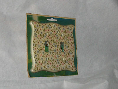 Vintage Mid Century Light Switch Plates Mint In Package Floral Design 2