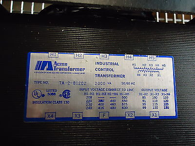 ACME TRANSFORMER(INDUSTRIAL CONTROL) TYPE: TA-2-81202, 2000VA, 50/60 Hz.