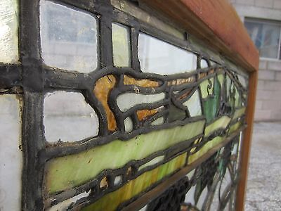 ~ Antique American Stained Glass Window ~ Grapevines ~ Architectural Salvage ~